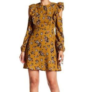 Moon River Floral Ruffle Trim Shoulder Long Dress
